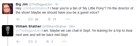 William Shatner voices charcter on My Little Pony Friendship Is Magic